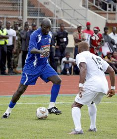 Liberia's main opposition leader and former football star George Weah controls the ball on June 22 2013 before a National peace Reconciliation...