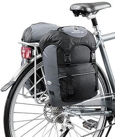 Deuter Rack Pack Uni Panniers - 38 Litre Black/Granite America And Canada, Black Granite, Mtb, Saddle Bags, Baby Strollers, Panniers, Packing, Bike, Baby Prams
