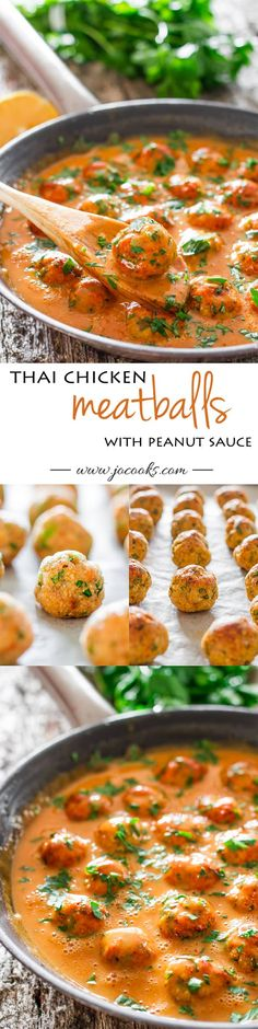 Skinny Thai Chicken Meatballs with Peanut Sauce - healthy baked chicken meatballs with Thai flavors and smothered in a sweet and slightly spicy peanut sauce. #skinnymeatballs #thaimeatballs #chickenmeatballs