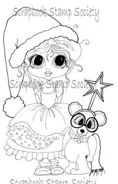 INSTANT DOWNLOAD Digital Digi Stamps Big Eye Christmas Star  Besties Big Head Dolls Digi By Sherri Baldy