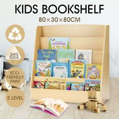 MDF - This bookshelf can keep your kids' books or toys neatly in place. Made of premium MDF, this bookcase can put books face forward, making easier to find books. Order it to train your kids' organizing ability! Wood Bookshelves, Wood Shelves, Childrens Book Shelves, Book Display Shelf, Kid Toy Storage, Book Organization, Kids Wood, Diy For Kids, Playroom