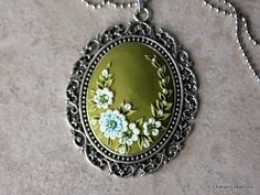Gorgeous Polymer Clay Applique Statement Pendant Necklace in
