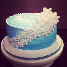 Blue snowflake cake inspired from the movie Frozen