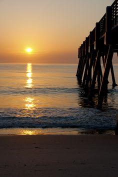 The Pier at sunrise🌅 Travel Around The World, Around The Worlds, Indian River County, Vero Beach Florida, Yearbook Design, Treasure Coast, Beach Adventure, Ocean Life, Sunrises