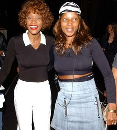 Whitney Houston with Mary J. Blige in Las Vegas in 2002. Photo by Getty Images