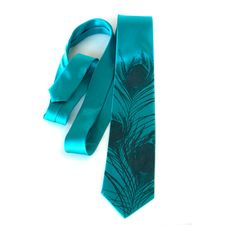 Teal blue peacock tie. Peacock feather men's silk by Cyberoptix, $45.00