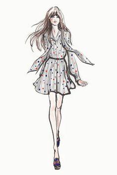 Zooey Deschanel designs for Tommy Hilfiger . Figurines de la actriz Zooey Deschanel para la firma Tommy Hilfiger #figurines #moda #coolhunting #trendsetter
