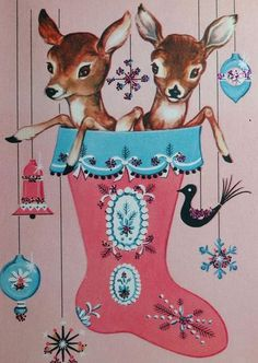 1950's Mod Pink and Blue Christmas Card with Reindeer in a Stocking