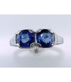 VINTAGE ANTIQUE 2.15CT SAPPHIRE PLATINUM DECO ENGAGEMENT COCKTAIL RING    $1,185.00