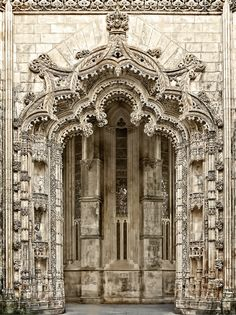 Portal of the Monastery of Batalha, Batalha, Leiria, Portugal. It is one of the best and original examples of Late Gothic architecture in Portugal, intermingled with the Manueline style. by Daniel Schwabe Architecture Antique, Beautiful Architecture, Art And Architecture, Architecture Details, Cool Doors, Unique Doors, Entrance Doors, Doorway, Door Knockers