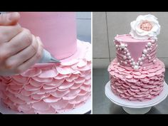 Buttercream Ruffle Cake Decoration - How To by CakesStepbyStep Buttercream cake decorating tutorial. Cake decorating for beginners. How, Decor, Cake, Cake Decorating For Beginners, Creative Cake Decorating, Cake Decorating Techniques, Cake Decorating Tutorials, Creative Cakes, Decorating Ideas, Decorating Cakes, Buttercream Ruffle Cake, Buttercream Cake Decorating