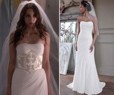 """Spencer wore this stunning but simple strapless gown with draped pleating and added a wide embroidered corset belt in Pretty Little Liars episode """"Unbridled"""". David's Bridal Crinkle Chiffon Gown with. Strapless Gown, Chiffon Gown, Spencer Hastings Hair, Pretty Little Liars Episodes, Lying Game, Corset Belt, One Shoulder Wedding Dress, Our Wedding, Abc Family"""