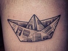 Paper boat ink tattoo