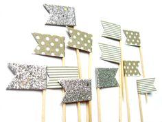 12 Grey Stripe Silver Glitter & Polka Dot Flag Cupcake by Pelemele, £4.20