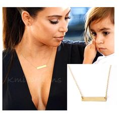 Gold Bar Necklace, Yellow Gold Bar Necklace, Solid 14K Gold Necklace, Kardashian Necklace by camilaestrella on Etsy