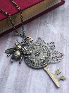 steampunk long necklace pendant vintage honey by Uniquenessgemz
