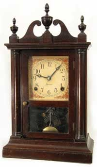 Pillar and scroll clock - This one has no scrolling on base and no reverse painted glass on the bottom of the door.