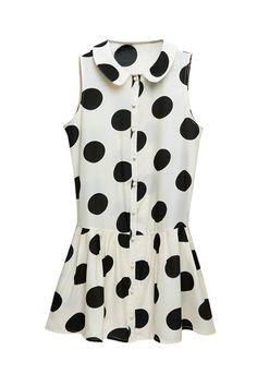 Dots Print White Shift Dress