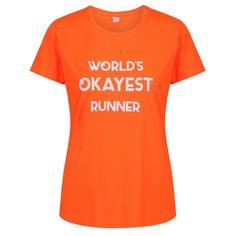"Orange ""World's Okayest Runner"" Technical T-Shirt Slogan Tops, Fabric Tape, Collar And Cuff, Sleeve Designs, Runners, Cuffs, Crew Neck, Training, Park"