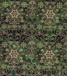 Holiday Inspirations Fabric-Christmas Snowflake Stripe Green Metallic