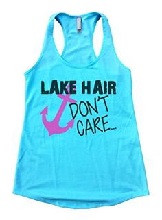 Flowy Lake Hair Dont Care Racerback Gym Work Out Tank Top Shirt XLarge Blue -- Click on the image for additional details. (This is an affiliate link) #WomensActivewear
