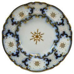 8 Flow Blue Deep Dinner Plates with Gilding, Antique English Victorian, 19th Century