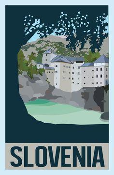 Slovenia Vintage Poster by pikels2.deviantart.com on @DeviantArt  Learn more about Predjama Castle at http://www.culture.si/en/Predjama_Castle