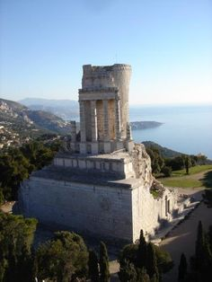 Ancient Roman ruins at La Turbie: The Trophy of Augustus on the Grande Corniche, high above the sea on the Côte d'Azur