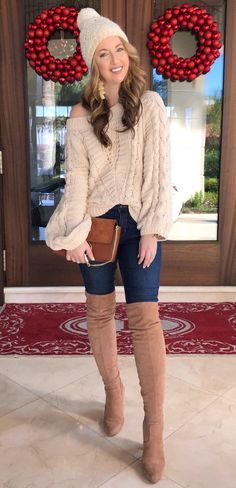 gray scoop-neck sweater and blue denim slim-fitted jeans with brown suede thigh-high boots Winter Fashion Casual, Autumn Fashion 2018, Winter Fashion Outfits, Spring Outfits, Autumn Outfits, Cute Outfits With Jeans, Cute Winter Outfits, Black And White Shirt, Cold Weather Outfits