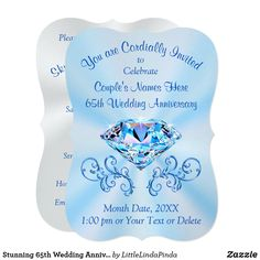 Gorgeous Blue Diamond For 65th Wedding Anniversary Invitations PERSONALIZED By You Or CALL Zazzle Designer