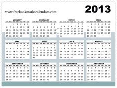 Calendars 2012 and 2013  Horizontal 2013 Calendar template   3