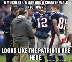 murlieater - A murderer, a liar and a cheater walk into town... Looks like the patriots are here.