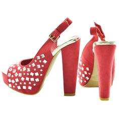 Red Gemstone Faux Suede Slingback Heels | Sexyback Boutique