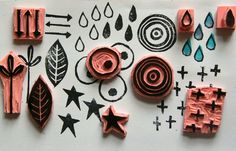 The Kathryn Wheel: Journal play - hand carved stamps. Diy Stamps, Homemade Stamps, Stamp Printing, Printing On Fabric, Make Your Own Stamp, Eraser Stamp, Stamp Carving, Paper Crafts, Diy Crafts