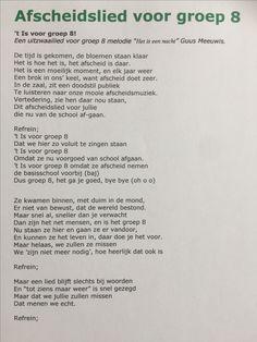 Afscheidslied melodie 't is een nacht' voor groep 8 van de leerkrachten.   Afscheid lied leraren musical