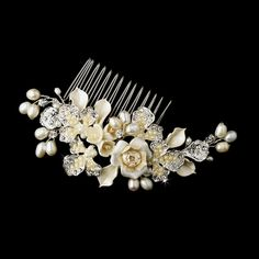 Porcelain Floral Bridal Comb with Freshwater Pearls in silver or gold plating.