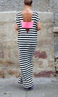 Caftan Backless dress Striped Dress Maxi by cherryblossomsdress