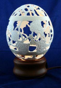 Rose Trellis Intricately Hand Carved Ostrich Egg FREE por eggstreme