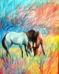 """""""Golden Dawn"""" Sally Bartos, New Mexico artist. Her work is available from bartos on Etsy. Oil Pastel Paintings, Mexico Art, Painted Pony, Southwest Art, Fine Art Photo, Equine Art, Horse Love, Horse Art, Western Art"""