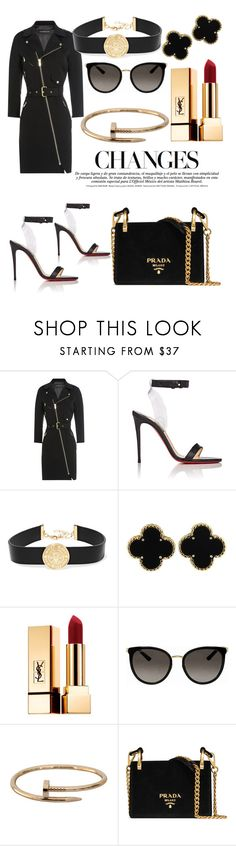 """Strong look 🔥"" by sarazalmutairi ❤ liked on Polyvore featuring Alexandre Vauthier, Christian Louboutin, Balmain, Van Cleef & Arpels, Yves Saint Laurent, Gucci, Cartier and Prada"