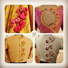 Some fun work that Team Vanitha enjoyed in the making.Some of designer blouse collection by Vanitha Couture. Beautiful designer blouse with floret lata design hand embroidery work. 07 April 2019 Hand Work Blouse Design, Simple Blouse Designs, Stylish Blouse Design, Bridal Blouse Designs, Neckline Designs, Dress Neck Designs, Henna Designs, Pattu Saree Blouse Designs, Designer Blouse Patterns