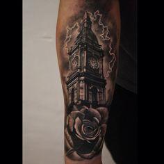 clock tower angel birds clouds tattooeys pinterest tattoo tatting and tattoo portfolio. Black Bedroom Furniture Sets. Home Design Ideas