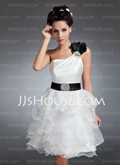 Homecoming Dresses - $122.99 - A-Line/Princess One-Shoulder Knee-Length Organza Satin Homecoming Dress With Ruffle Sash Beading Sequins (022015066) http://jjshouse.com/A-Line-Princess-One-Shoulder-Knee-Length-Organza-Satin-Homecoming-Dress-With-Ruffle-Sash-Beading-Sequins-022015066-g15066