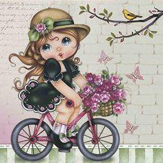 Papel Scrap Decor Folha Simples Menina na Bicicleta - Litoarte - PalacioDaArte Cute Kids Pics, Cute Cartoon Girl, Digi Stamps, Cute Illustration, Fabric Painting, Vintage Cards, Vintage Prints, Cute Art, Images