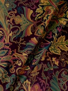 "Ralph Lauren Lakota Paisley Color Aubergine Fabric Clearance  100% cotton velvetine  repeat 30""V 27""H 54""W  Book: Classic Manor  priced by the yard, limited quantity  MSRP $108.00, our price $44.95, this is a clearance item at 58% off retail which will go fast, when sold out can not be reordered  #Paisley #RalphLaurenFabric #CloseoutClearanceFabric"