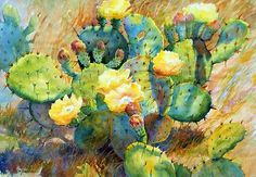SUNSTRUCK by Mary Shepard Watercolor ~ image size: 21 x 29 unframed/ 30 X 38 framed Arches Watercolor Paper, Watercolor Cactus, Watercolor Images, Watercolor Artists, Watercolor Paintings, Watercolours, Watercolor Succulents, Art Paintings, Cactus Drawing