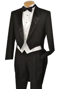 1920s style mens Downton Abbey formal tuxedo suit. Black Full Dress TailCoat Notch Collar White lapeled Vest $275.00 AT vintagedancer.com