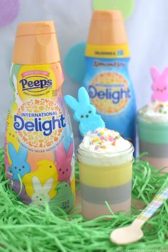 Hop into spring with this delicious PEEPS& Marshmallow Mousse made with International Delight& PEEPS& Sweet Marshmallow Coffee Creamer! Coffee Creamer, My Coffee, Delicious Desserts, Dessert Recipes, Marshmallow Peeps, Small Glass Jars, Recipes With Marshmallows, Almond Joy, Whipped Topping