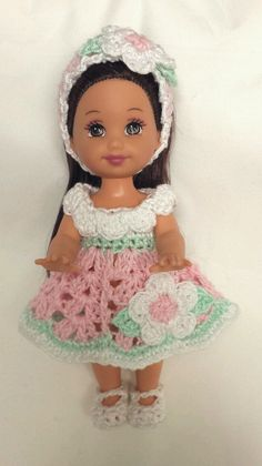 Crochet Kelly Doll Clothes Pink Flower Dress Headband Shoes Panties Handmade New | eBay