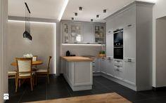KLASYCZNA KUCHNIA Z SZAROŚCIĄ - Średnia otwarta kuchnia w kształcie litery u w aneksie, styl klasyczny - zdjęcie od All Design Agnieszka Lorenc